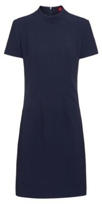 HUGO BOSS Short-sleeved dress in stretch fabric with houndstooth structure