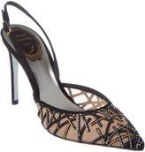 Rene Caovilla Embellished Mesh & Suede Slingback Sandal