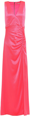Alice + Olivia Diana Ruched Neon Satin-crepe Gown