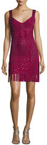Herve Leger Sleeveless Grommet Fringe-Skirt Bandage Dress, Dark Maroon/Combo