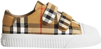 BURBERRY KIDS Vintage Check and Leather Sneakers
