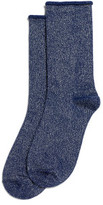 Hue Metallic Roll Top Sock