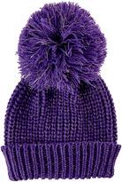 San Diego Hat Company Purple Slouchy Pom-Pom Beanie