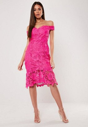 Missguided Pink Floral Lace Bardot Midi Dress