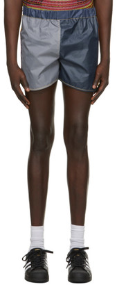 Bethany Williams Navy and Grey Attenzione Tent Shorts