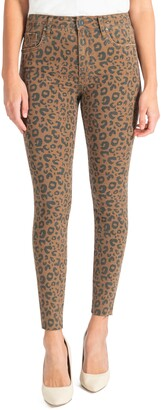 KUT from the Kloth Donna Leopard Print High Waist Ankle Skinny Jeans