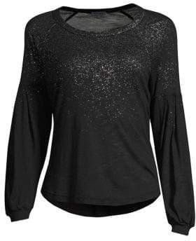 Splendid Women's Long Sleeve Slub Jersey Sparkle Tee - Black - Size Small