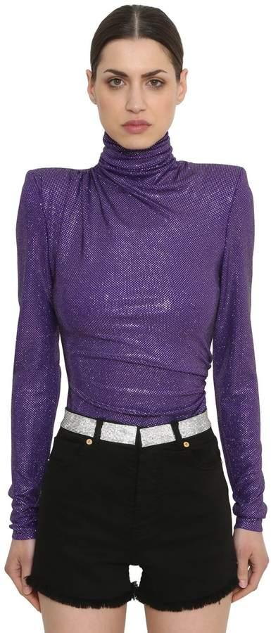 Alexandre Vauthier Embellished Jersey Turtleneck Bodysuit