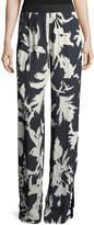 Fuzzi Floral-Print Crepe Track Pants