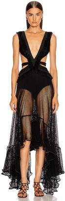 PatBO Cutout Mesh Beach Dress in Black | FWRD
