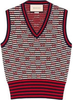 Gucci GG Supreme embroidery wool vest
