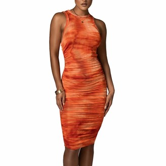 DISSA Women Orange Printing Sleeveless Sheath Dress Ruched Round Neck Dress Sexy Bodycon Midi Dresses Party Cocktail Business D3160a 6