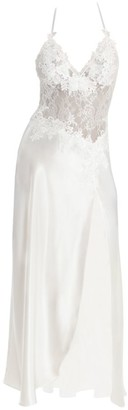 Jonquil Sutton Lace Bodice Side Slit Satin Night Gown