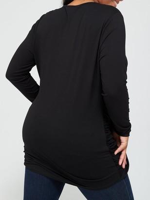 V By Very Curve Drape Wrap Dipped Hem Jersey Top - Black