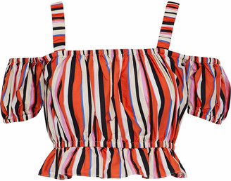 Nicholas Rosie Cold-shoulder Striped Cotton-poplin Top