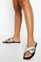 Thumbnail for your product : boohoo Wide Fit Embellished Cross Strap Jelly Slider