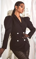 Jandb Black Puff Sleeve Pearl Button Fitted Blazer