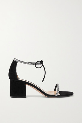Gianvito Rossi 60 Crystal-embellished Suede Sandals - Black