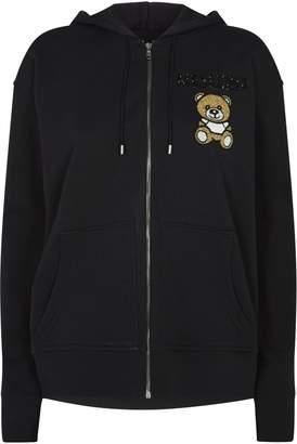 Moschino Embellished Teddy Bear Logo Zip-Up Hoodie