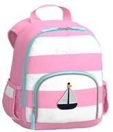 Pottery Barn Kids Pre-K Backpack, Fairfax Pink White with Aqua Trim, Sailboat