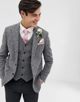 Asos Design DESIGN wedding slim blazer in 100% wool Harris Tweed in gray