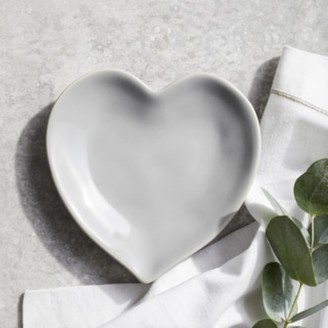 The White Company Porto Stoneware Heart Side Plate, Grey, One Size