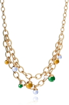 Rebecca Hollywood Stone Yellow Gold Over Bronze Chains Necklace w/Hydrothermal Stones