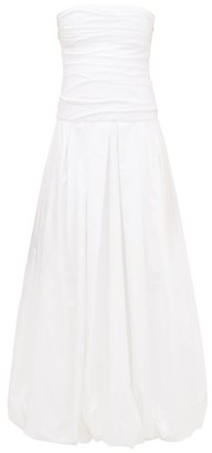 KHAITE Ingrid Ruched Bandeau Puffball Cotton Dress - White