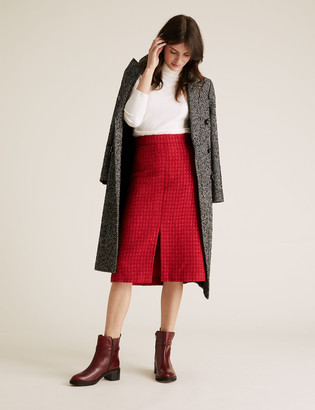 Marks and Spencer Wool Tweed Midi A-Line Skirt