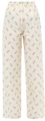 Giuliva Heritage Collection The Amanda Geometric-print Cotton-blend Trousers - Ivory Multi