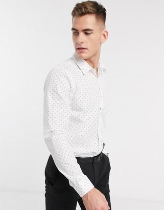 New Look polka dot poplin shirt in white