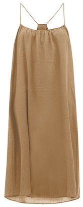Loup Charmant Scoop-neck Cotton-poplin Slip Dress - Womens - Brown