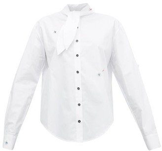 Art School - Tie-neck Jewel-embellished Cotton Shirt - White