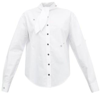 Art School - Tie-neck Jewel-embellished Cotton Shirt - Womens - White