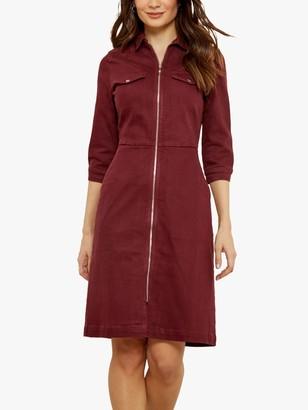 Sosandar Zip Front Denim Dress