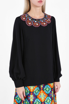 Andrew Gn Embroidered Bell Sleeve Blouse