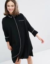 Monki Pajama Shirt Dress With Piping