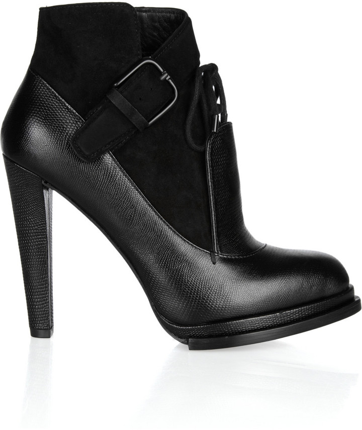Alexander Wang Monique textured-leather and suede ankle boots