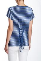 Pam & Gela Lace-Up Back Stripe Tee