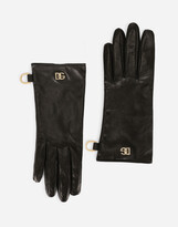 Thumbnail for your product : Dolce & Gabbana Nappa leather gloves with logo