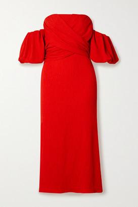 Johanna Ortiz Fine Love Off-the-shoulder Crinkled-crepe Midi Dress - Red