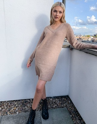 Pieces sweater dress with v neck in camel