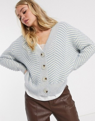 Fashion Union knitted cardigan with chevron pattern