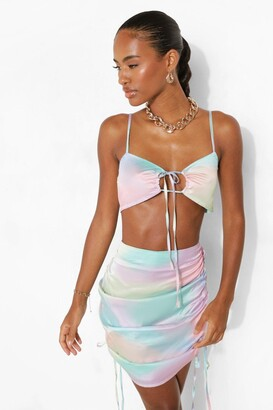 boohoo Tie Dye Ruched Bralette & Mini Skirt Set