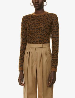 Max Mara Osella leopard-intarsia stretch-knit jumper