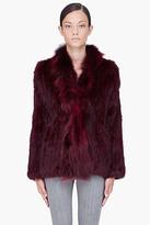 ELIZABETH AND JAMES Burgundy Bianca Rabbit Fur Jacket