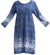 Denim Blue Floral-Trim Zip-Pocket Shift Dress - Plus