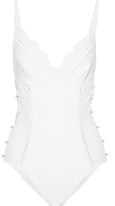 Zimmermann Laelia Button-embellished Broderie Anglaise Swimsuit