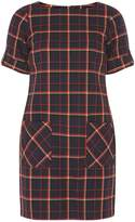 Navy Blue Checked Shift Dress