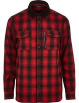 River Island MensRed check flannel shirt jacket
